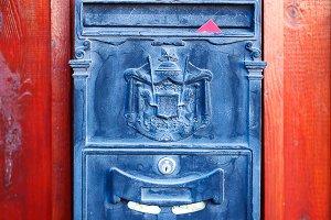 Black vintage post box
