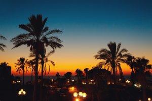 Summer sunset at a coastline