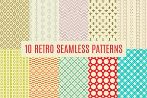 10 Retro Seamless Pattern Set