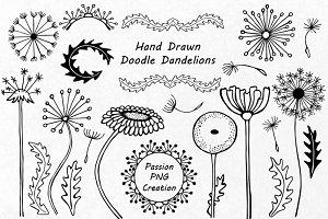 Hand drawn Doodle Dandelions