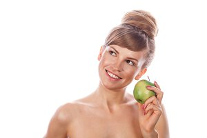 Girl with nude makeup. Green apple