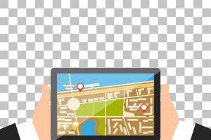 Hand with Tablet Navigation Design