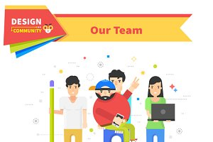 Our Success Team Linear Flat Design