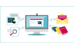 Online Education Icon Flat Design