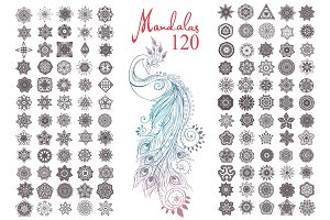 120 Mandalas Vector and Peacock Bird