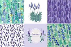 Lavender set: patterns, flowers
