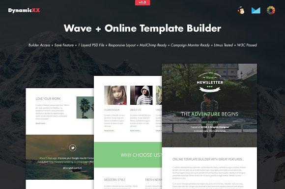 Wave + Online Template Builder ~ Email Templates ~ Creative Market