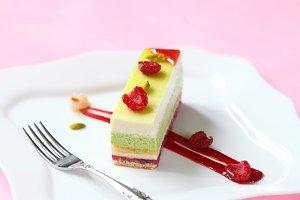 Pistachio, Raspberry Mousse Cake