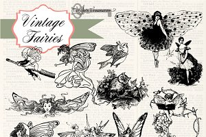 Vintage Fairies Clipart and Brushes