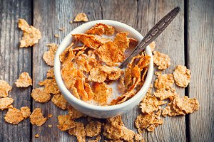 Breakfast wheat flakes with milk