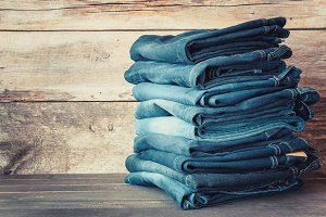 Stacked fashion blue jeans