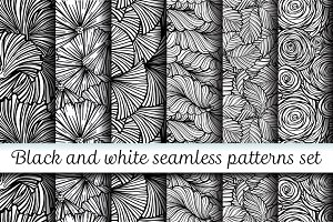 6 black and white floral patterns