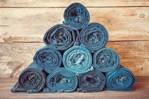 Rolled jeans stack