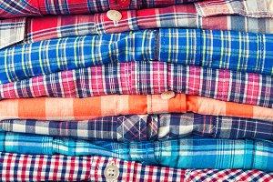 Stack of shirts.