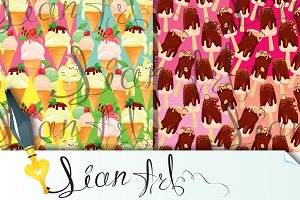 seamless patterns with Ice cream