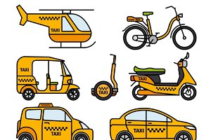 Taxi thin line icons