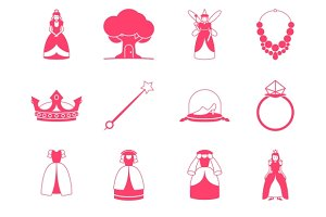 Princess fairytale icon set