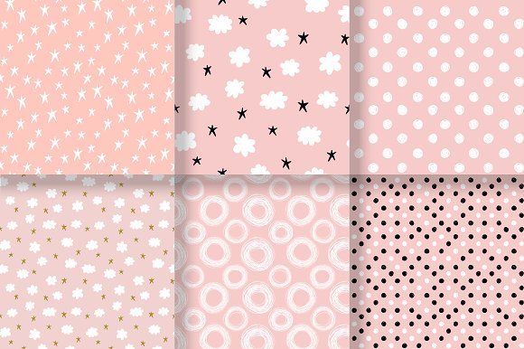 Simple Cute Patterns Set Graphic Patterns Creative Market Extraordinary Cute Patterns
