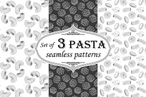 Set hand-drawn pasta patterns.