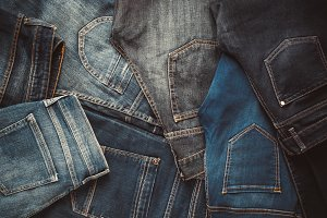 Fashion different jeans background