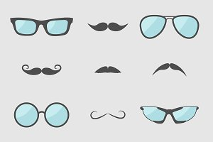Glasses and mustache icon set.