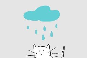 Cat under the rain