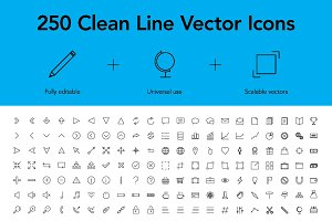 250 Clean Line Vector Icons