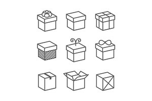 Gift Box Icons Set