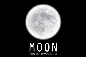 Moon Vector Set. Freehand drawing.