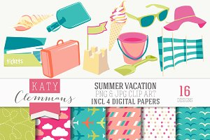 Summer Vacation clip art & papers