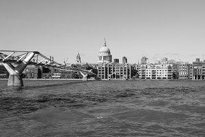 Millennium Bridge in London in black and white
