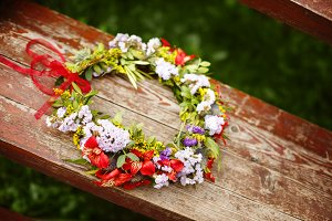 Flower wreath decoration. Rustic.