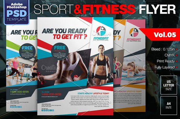 8-in-1 Sport & Fitness Flyers Bundle ~ Flyer Templates ~ Creative Market
