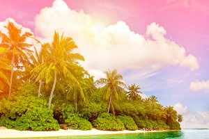 Paradise island sunset beach
