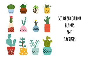 Set of succulent plants and cactuses