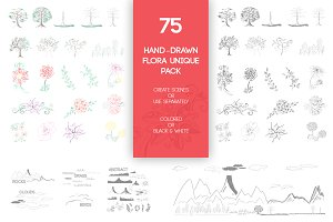 75 Hand-Drawn Flora Unique Pack
