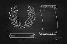 Vintage ribbon on chalkboard. Set №1