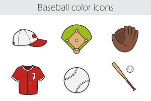 Baseball color icons set. 9 items