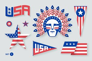 Set of USA symbols