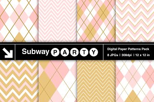 Gold & Blush Pink Chevron & Argyle