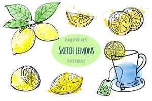 Sketch lemons. Watercolor. Vector.