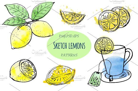 Sketch lemons. Watercolor. Vector. - Illustrations