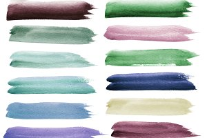 Set watercolor brush strokes