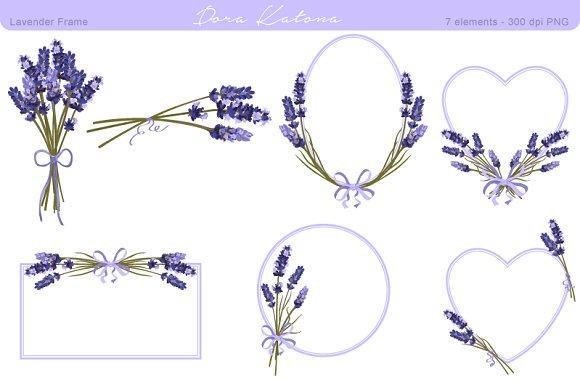 lavender flower frame and clipart  graphics on creative market, Beautiful flower