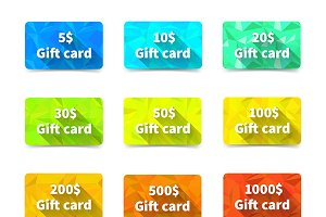 Set of nine gift cards