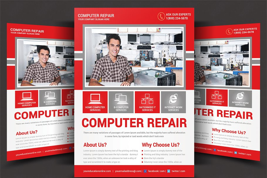 Computer Mobile Repair Flyer Flyer Templates Creative Market Pro