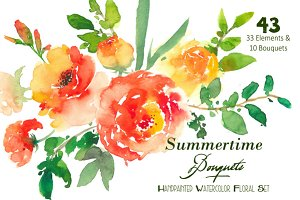 Summertime Bouquets - Watercolor Flo