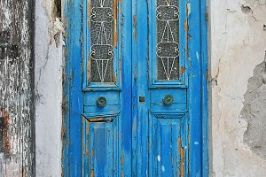 Beautiful blue old door in Greece