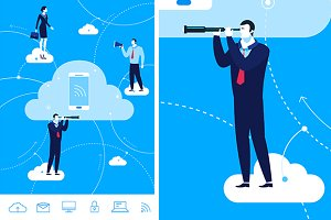 Cloud communication (+6icons)