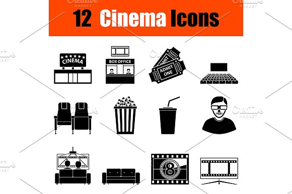 Set of cinema icons in Icons